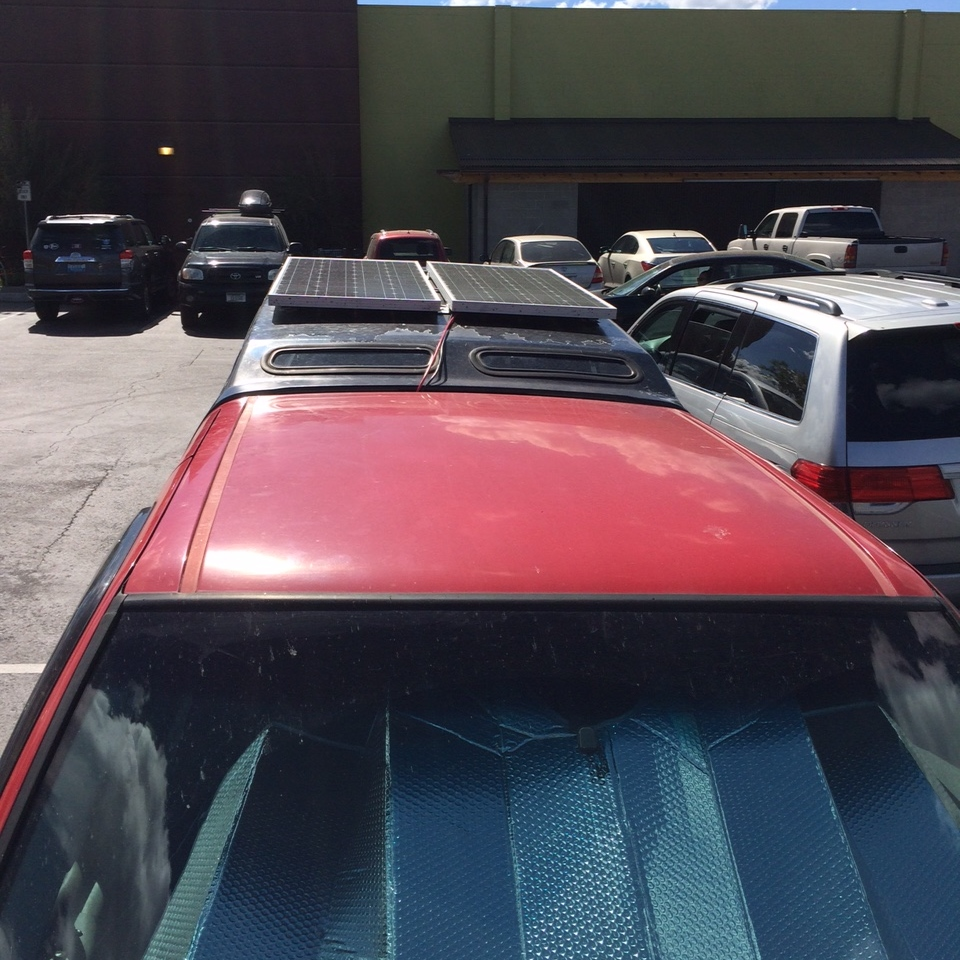 There are 2 solar panels on top. They put out more than enough juice to run whatever I need as long as I  remember to park in as much sun as possible.