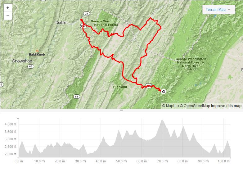 Chris' Highland County Gran Fondo - 103.4 miles12,905ft elevationAwesome climbs, dirt/gravel roads, beautiful area
