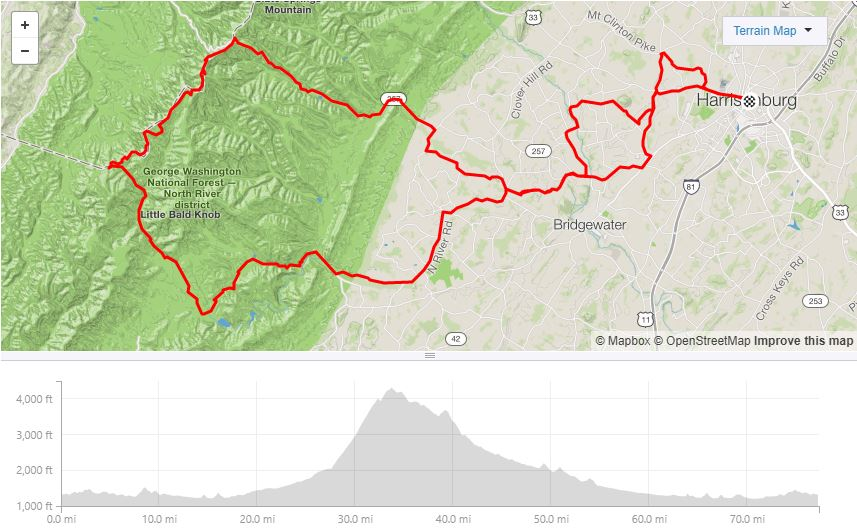 """TDB """"short"""" Road Day - Inspired by one of the stages of Harrisonburg's best grassroots events, this ride has it all - pavement climb up Reddish, a ripping gravel descent, and gravel"""