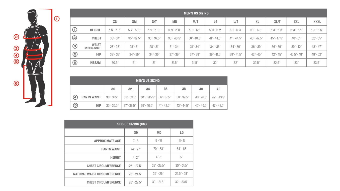 Specialized Clothing, Men's Size Chart