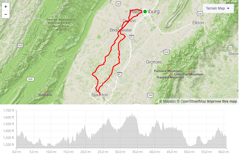 Staunton/Reunion Bakery - 60.8 miles3982ft elevationNo GravelI have this route taking riders to one of my favorite local bakeries. They serve amazing coffee also!(Reunion is closed Mondays and Tuesdays)