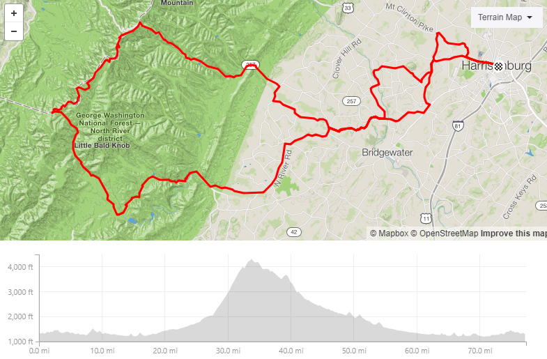 "TDB ""Short"" Road Day - 77.3 miles 6,224ft elevationInspired by one of the stages of Harrisonburg's best grassroots events, this ride has it all - pavement climb up Reddish, a ripping gravel descent, and gravel"