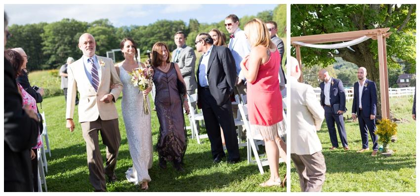 bride at stone tavern farm wedding ceremony