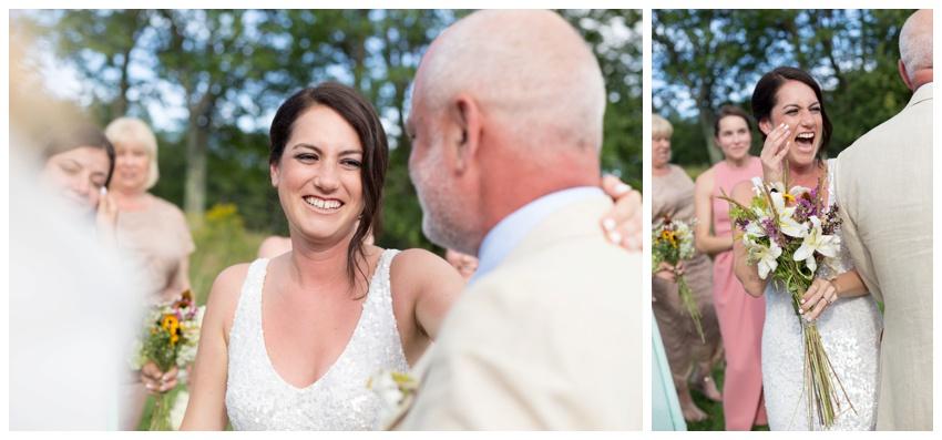 bride and dad after wedding ceremony