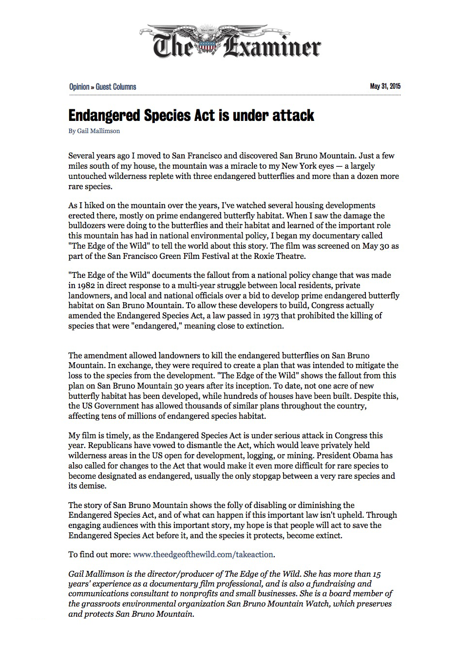 Endangered Species Act is under attack | Guest Columns | San Francisco | San Francisco Examiner copy.png