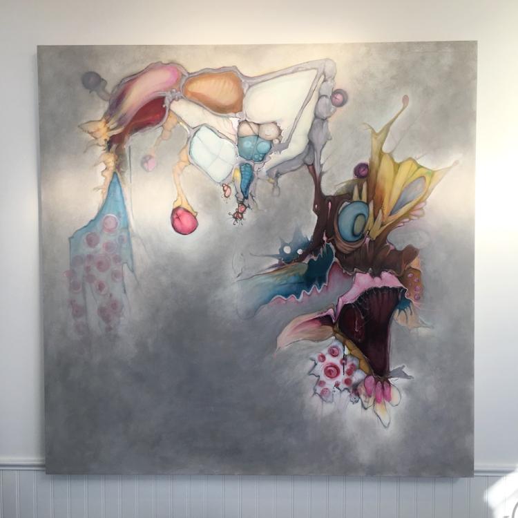 """Immeasurable Cocoon"" Hollis + Lana | 48"" x 48"" acrylic on panel 2017 | $4000 Contact us to purchase"