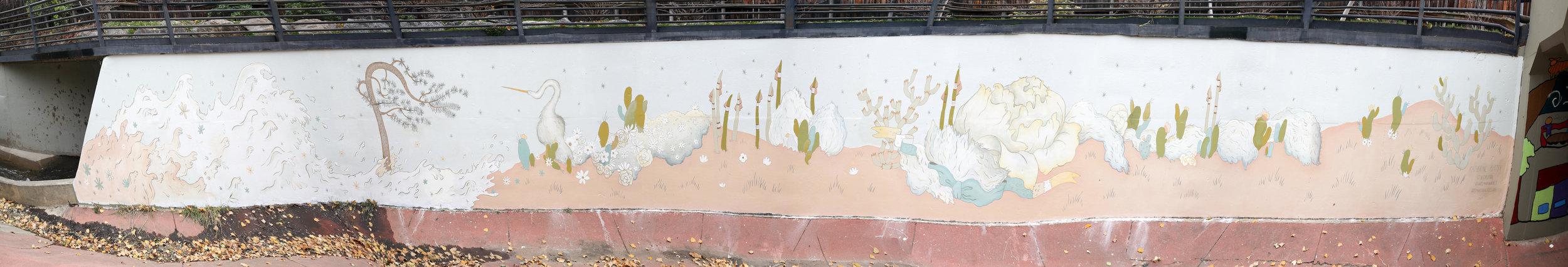 "Katerhine Rutter ""Wave Cloud"" mural @ Martin Drive on the Bear Creek Path. 2017 Boulder, CO"