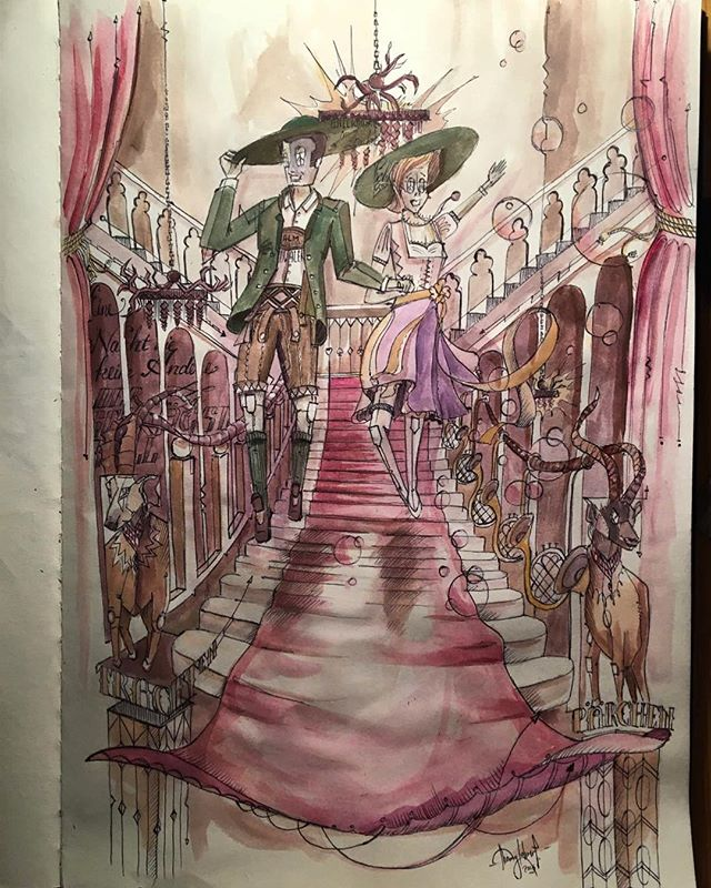 Just found an old study for the Trachtenpärchenball by @almdudler / the finished artwork was 30 x 8 meters  #TomLohner #popsurrealism #culture #contemporaryart #newcontemporary #newcontemporaryart #contemporaryartist #painting #contemporarypainting #contemporaryart #fineart #popculture #popstyle #urbanculture #urbanstyle #artoftheday #artoninstagram #igersaustria #art_spotlight #artlovers #austria #hifructosemagazine #juxtapozmagazine #lowbrowpopsurrealists #portraitart #beautifulbizarremagazine