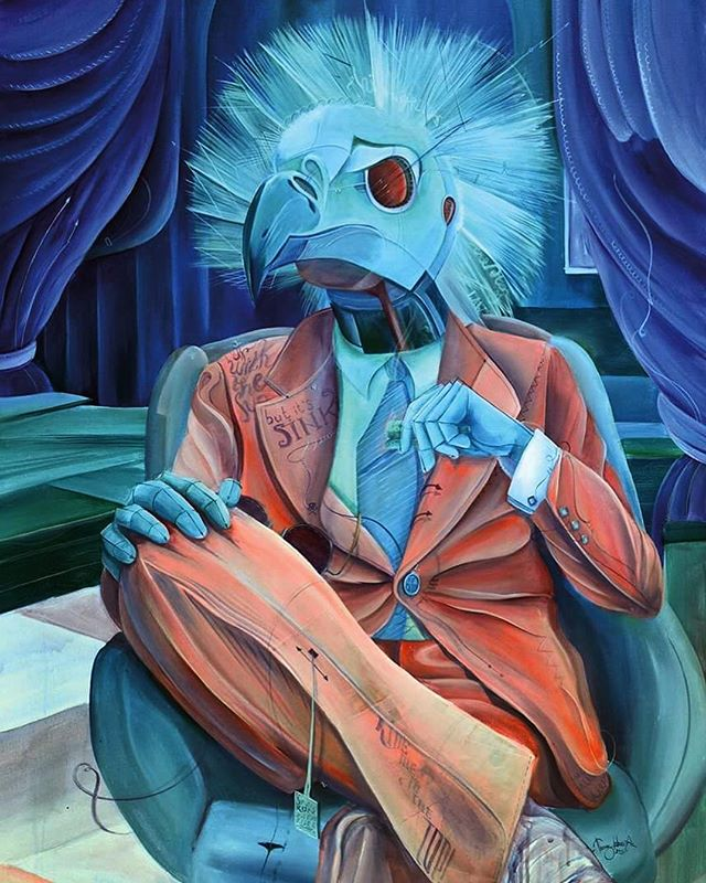 """The Stockbroker"" from the HAnimalism Series, Acrylic on canvas, 2015, #TomLohner #popsurrealism #culture #contemporaryart #newcontemporary #newcontemporaryart #contemporaryartist #painting #contemporarypainting #contemporaryart #fineart #popculture #popstyle #urbanculture #urbanstyle #artoftheday #artoninstagram #igersaustria #art_spotlight #artlovers #money #hifructosemagazine #juxtapozmagazine #lowbrowpopsurrealists #wallstreet #beautifulbizarremagazine"