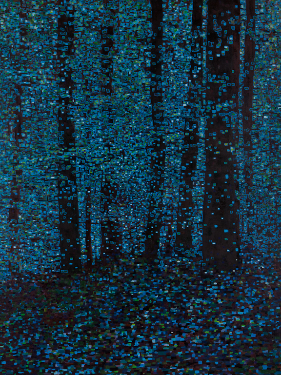 "Digital Forest by Moonlight, Oil on Linen, 30"" x 40"", 2013"