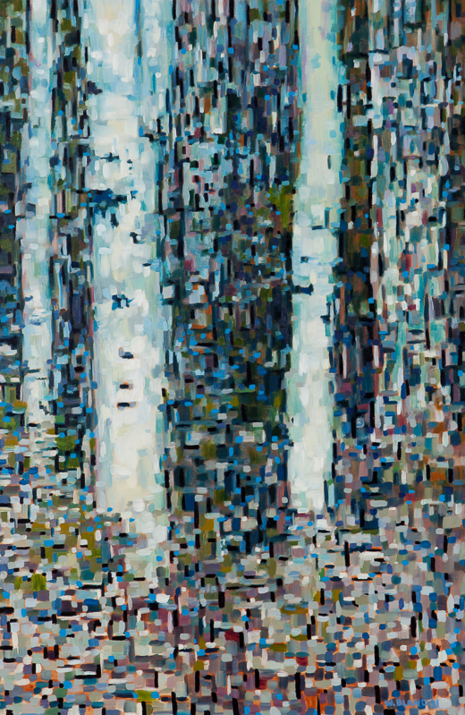 "Birch Trees XV, Oil on Linen, 24"" x 36"", 2012"