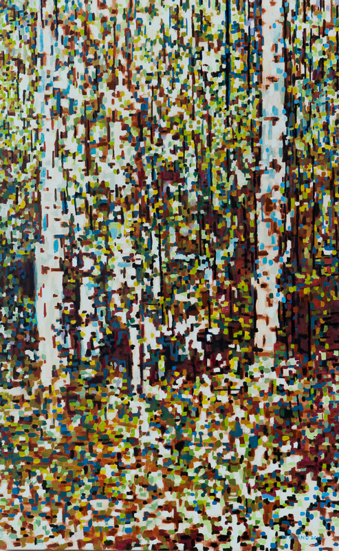 "Birch Trees XI, Digital, Oil on Linen, 24"" x 38"", 2012"
