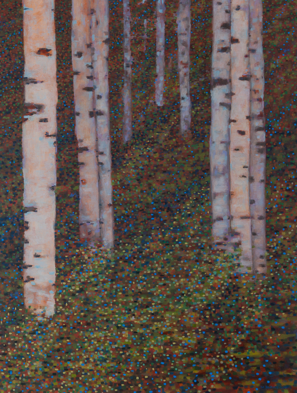 "Birch Trees V: Energy, Oil on Linen, 34"" x 42"", 2011"