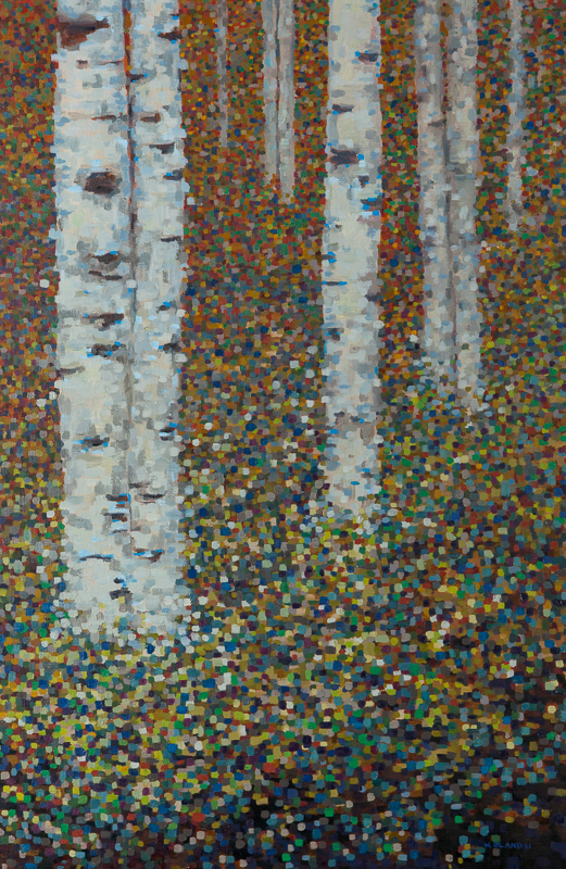 "Birch Trees XII: Pixelated, Oil on Linen, 24"" x 36"" 2012"