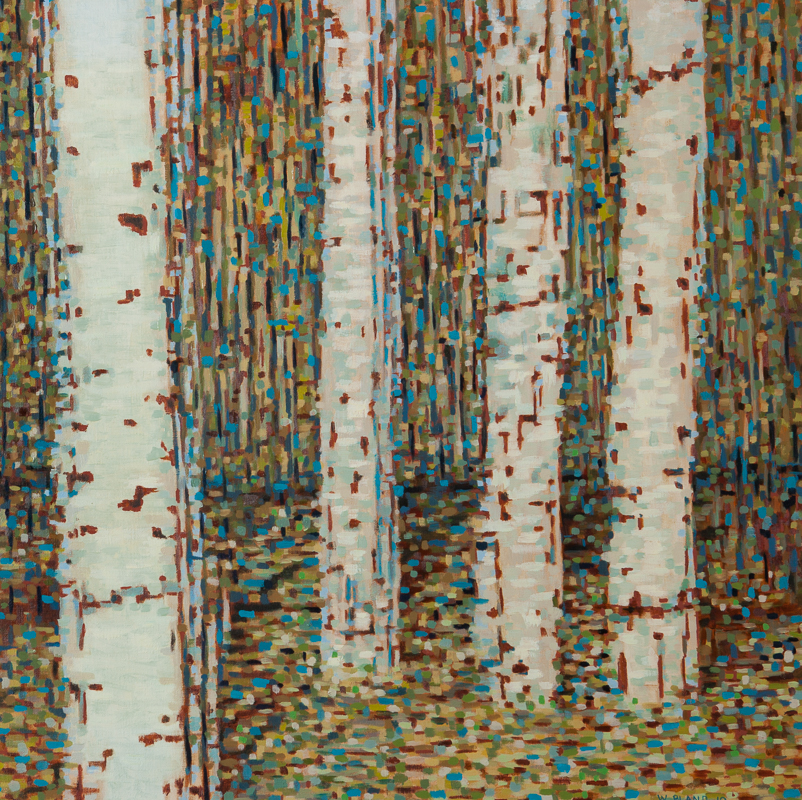 "Birch Trees III: Time Stutter, Oil on Linen, 24"" x 24"", 2010"