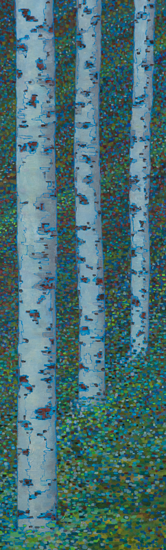 "Digital Birches I , Oil on Linen, 16"" x 50"", 2012"