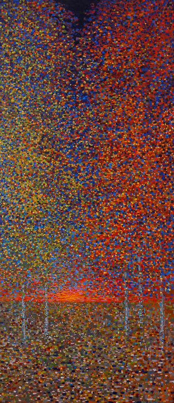 "Cosmic Collision of Spring and Fall/Sunset, Oil on Linen, 22"" x 50"", 2014"