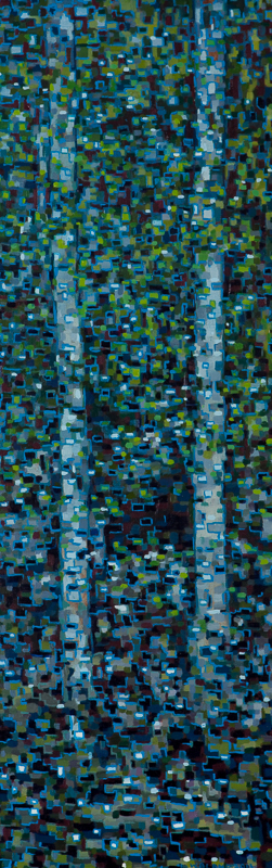 "Digital Birches III, Oil on Linen, 12"" x 30"", 2013"