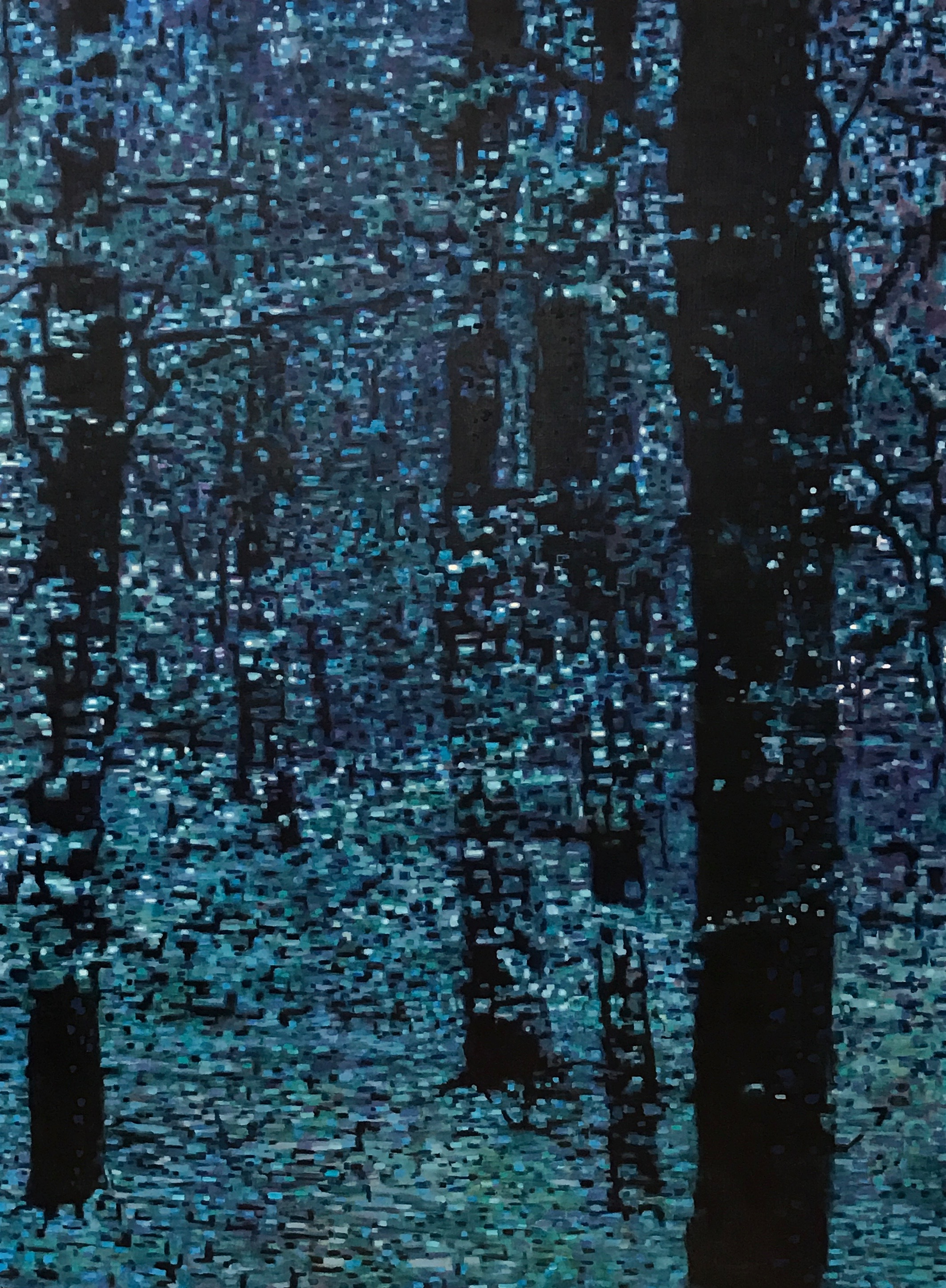 "Forest Moonlight, Oil on Linen, 36"" x 48"", 2014"