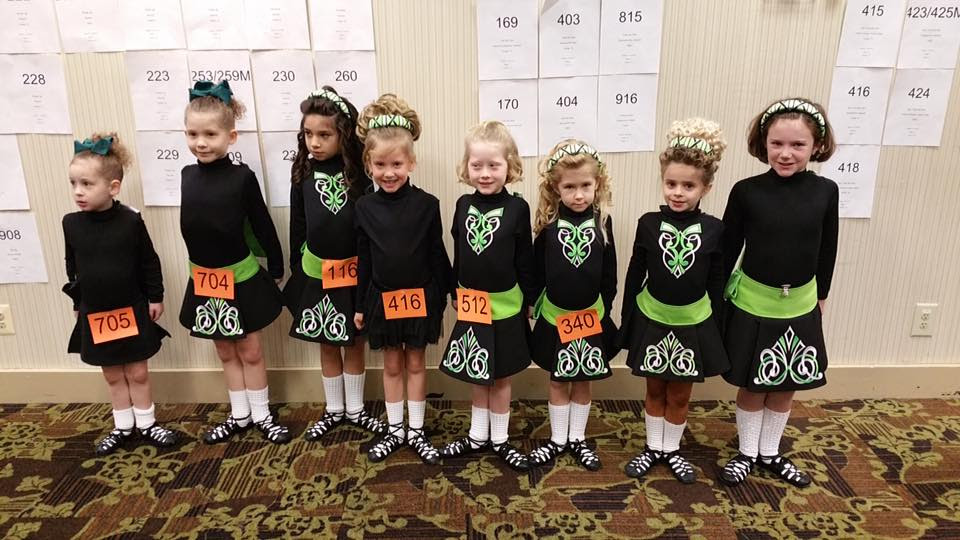 Some of our beginners practicing together at their very first feis!