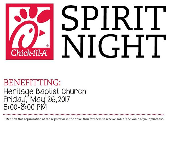 Come to EITHER Lakeland Chick Fil A on Friday, May 26 to help our Nicaragua mission team raise funds for their trip!