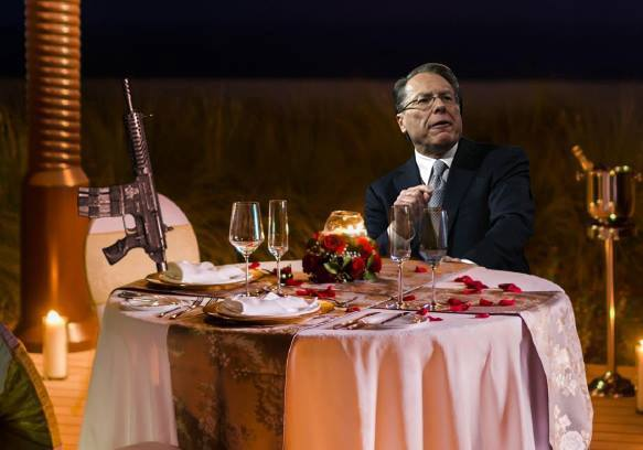 Wayne LaPierre Just Wants to Enjoy Valentine's Dinner with AR-15 in Peace