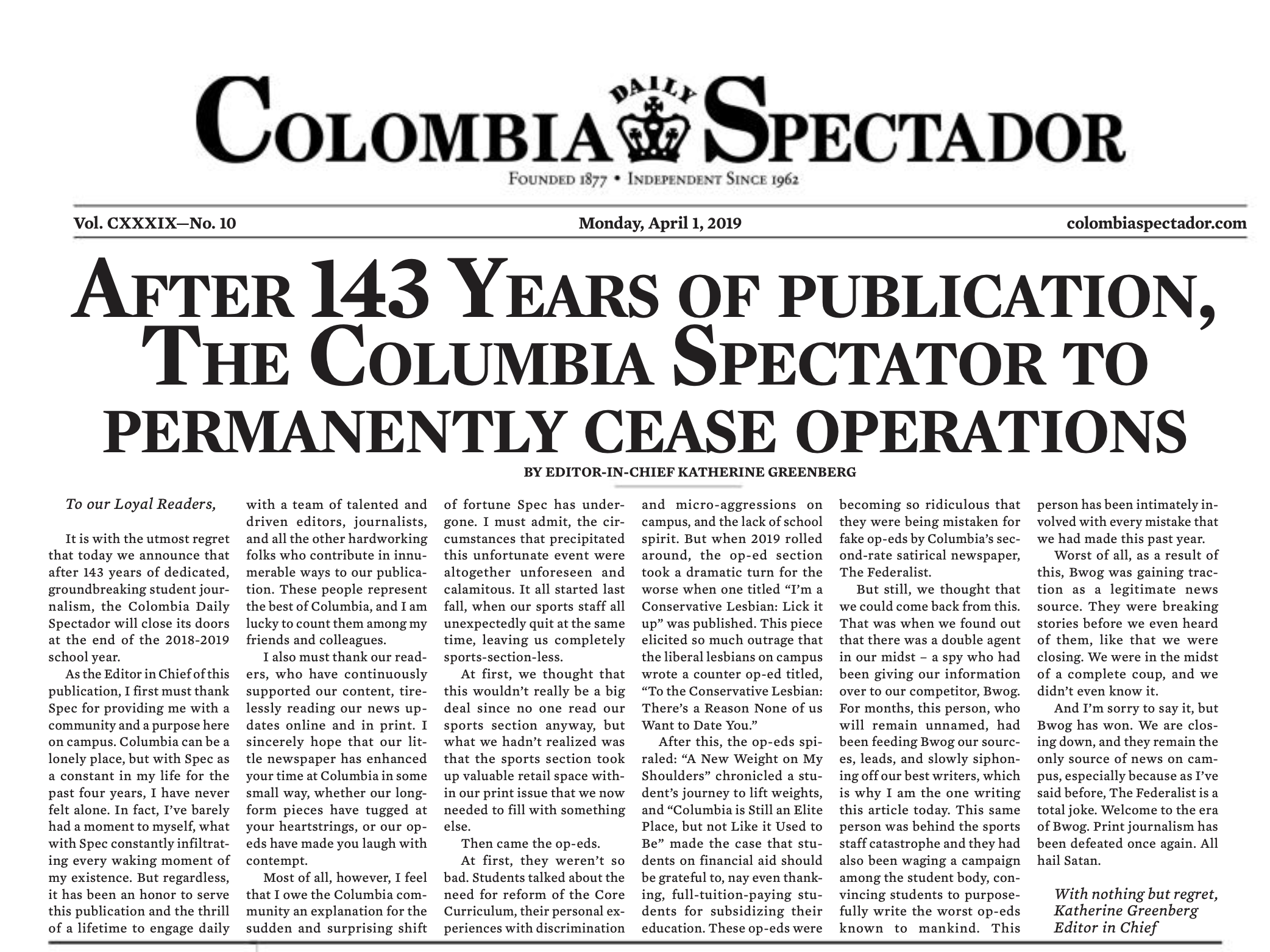 The 2019 Colombia Daily Spectador