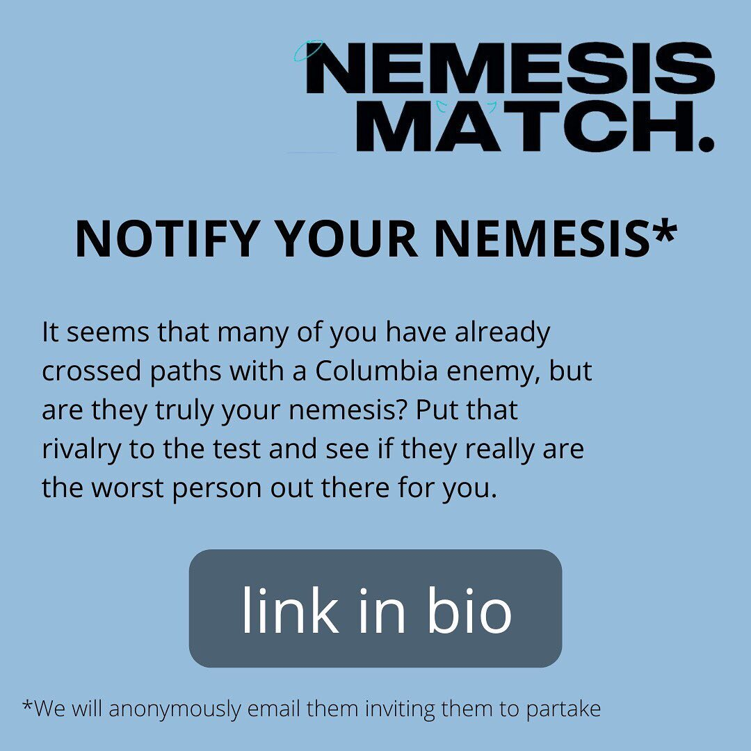 ⚠️ANONYMOUSLY ASK YOUR ENEMIES & FRENEMIES TO FILL OUT NEMESISMATCH⚠️ Report your nemesis to us and we'll make sure to let them know their participation is desired. Remember that time you and your enemy fought about the merits of socialism?! What if there's someone else out there who likes Taylor Swift's later work AND loves capitalism. There's only one way to find out if they're your true enemy. 😇 LAUNCH ON WEDNESDAY 👿