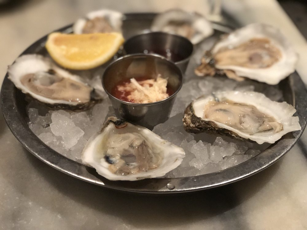 Red White & Blue  - $9.99 6 oysters/clams + a glass of house wine or beerAvailable all day