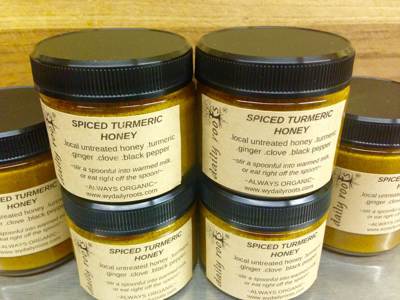 SPICED TURMERIC HONEY - Wyoming honey blended with turmeric, ginger, clove and black pepper. Delicious stirred into tea, warmed milk or straight off the spoon for an anti-inflammatory boost. $ 6 | 12Place order