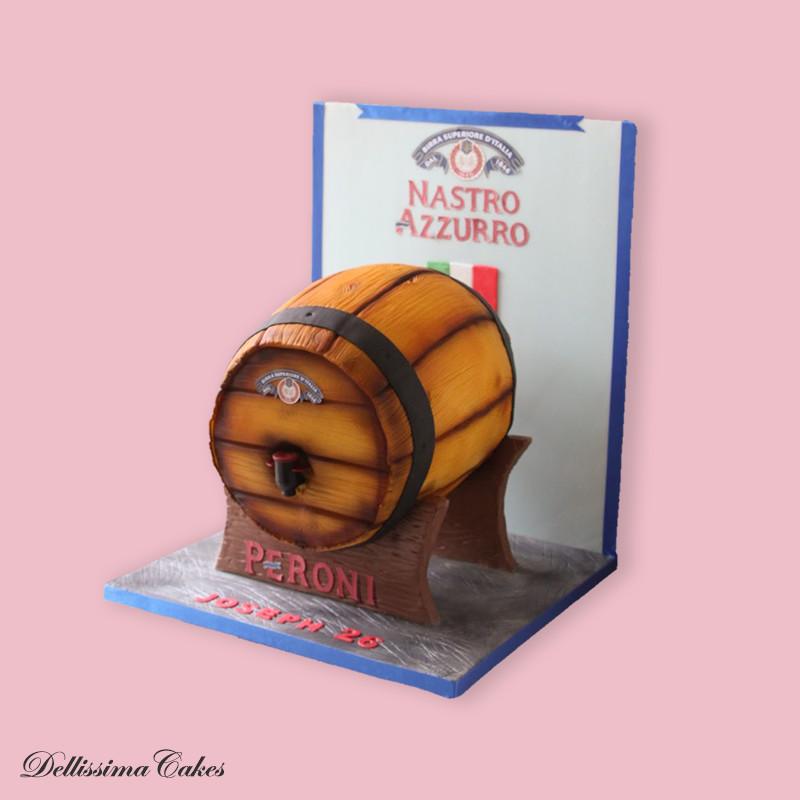 Beer barrel birthday cake