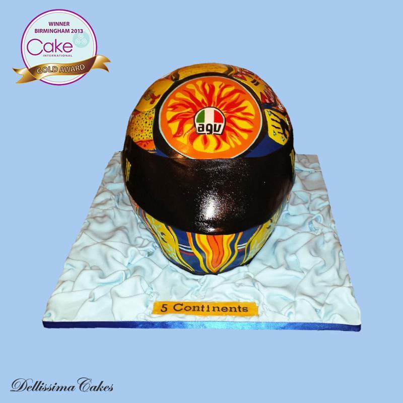 Gold Award Rossi Helmet Cake