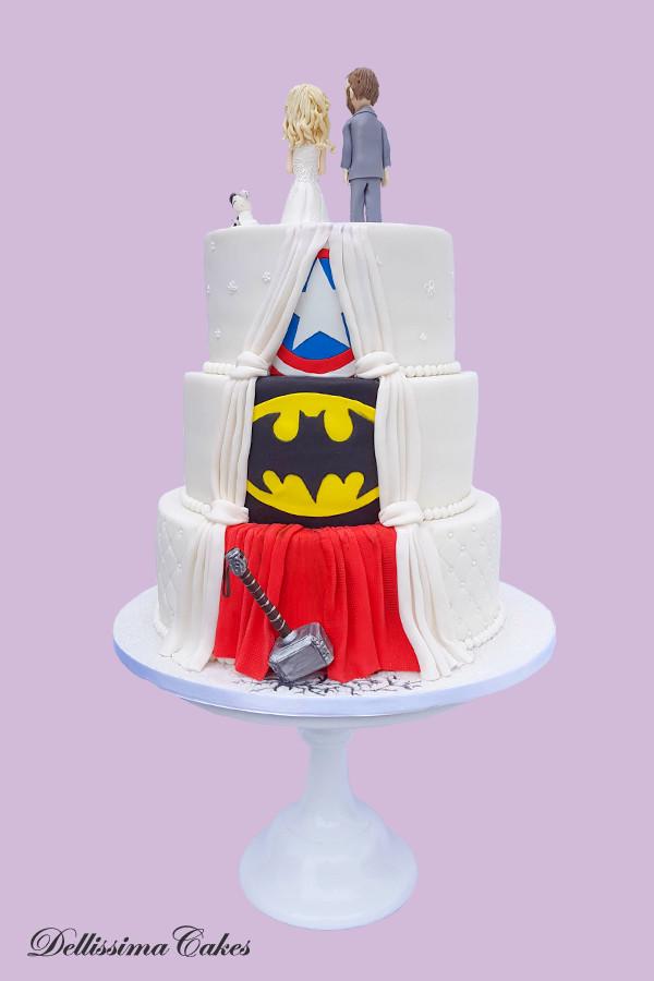 Marvel Reveal Back Wedding Cake