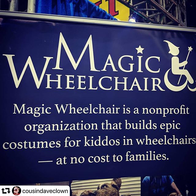 Thanks for the kind shout out and stopping by the booth @cousindaveclown! Thanks for spreading the love! . . . #magic #magicwheelchair #wheelchair #wheelchaircosplay #smiles #epic #inclusion #happy #kiddos #community #children #nonprofit #sdcc #sdcc2019