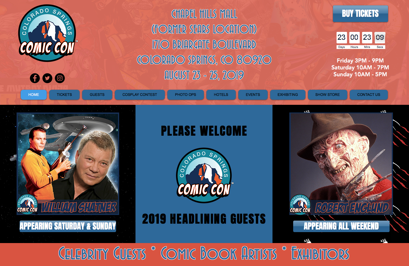 Colorado Springs Comic Con at the former Sears location in the Chapel Hills Mall at 1710 Briargate blvd Colorado Springs, CO 80920. August 23-25. Headlining guests include William Shatner of Star Trek and Robert England of Nightmare on Elm Street!  * Celebrity Guests * Comic Book Artists * Exhibitors*