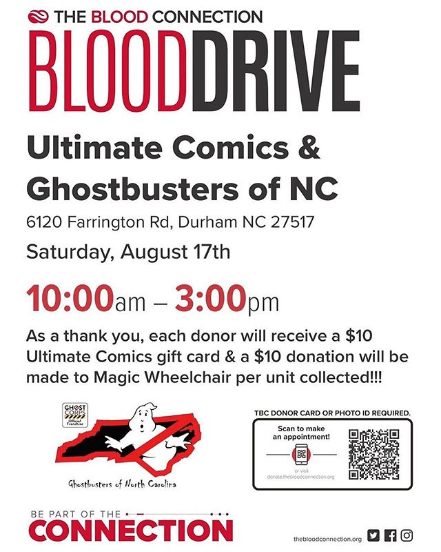 Join the Ghostbusters of North Carolina and give blood TOMORROW from 10am-3pm to directly benefit Magic Wheelchair! Each donor will receive a $10 @ultimatecomicsofficial gift card and a $10 donation will be made to us. See below for full details! 👻🚫