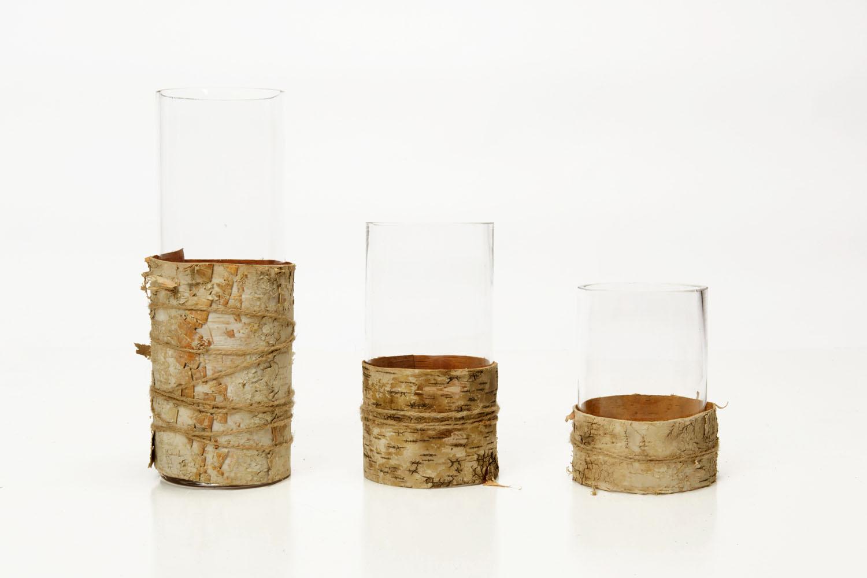 Glass Cylinder With Birch Wrap (12x4)4.50, (8x4) 3-, (6x4)2.25