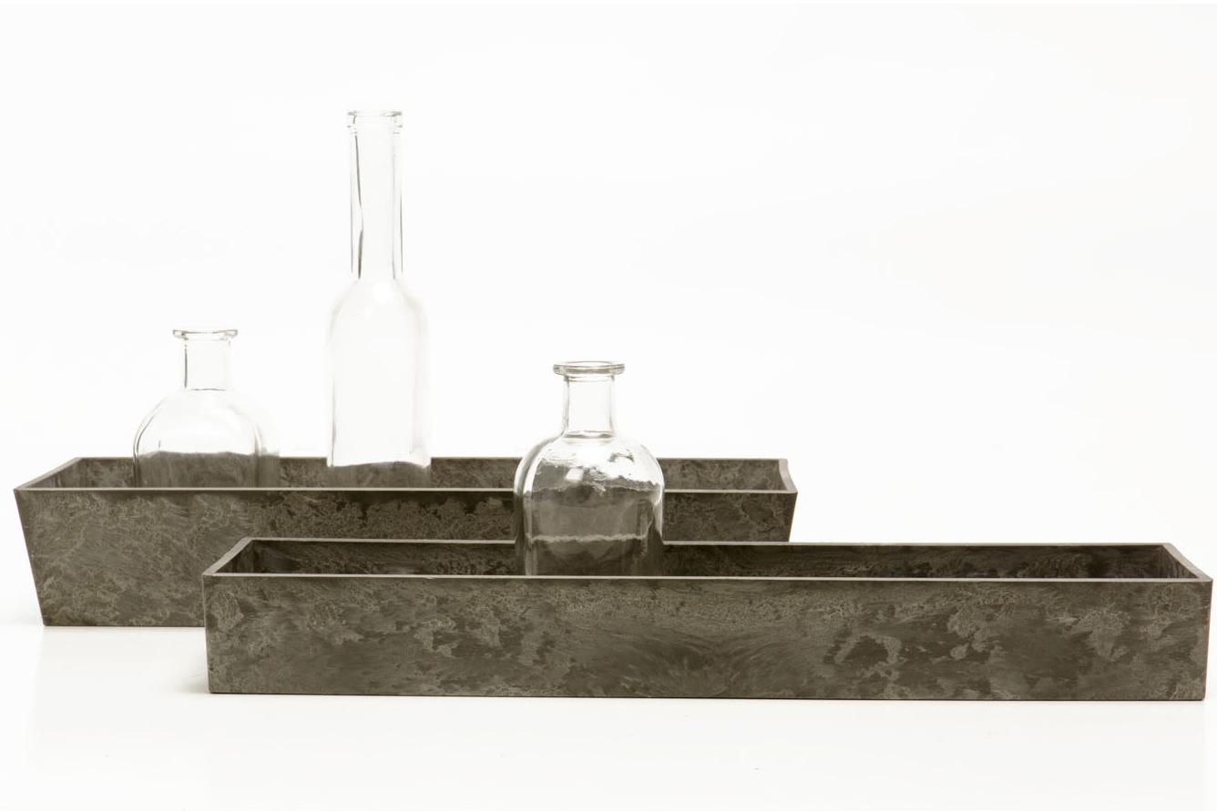 Rectangle Gray Slate Vessel (2hx9lx5d 1.75,(2hx14lx5d) 3-