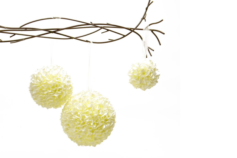 Ivory Faux Flower Sphere sm (5 dia) 3-, med (7 dia) 5-, lg (9 dia) 7-