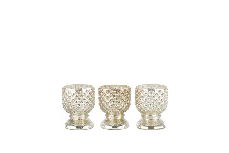 Studded Mercury Glass Votive .50-