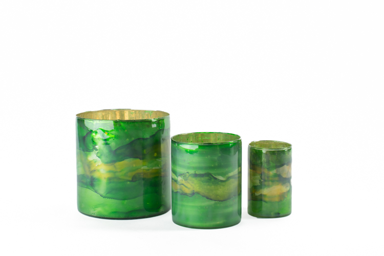 Green Elixir Cylinder Vase lg (6x6) 5-, med (5x4) 3.25, sm (4x3) 1.75