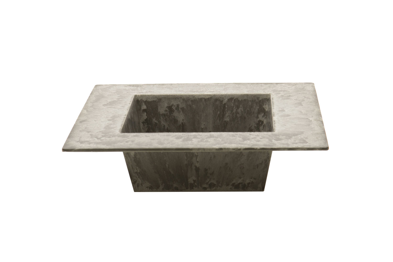 "Square Slate Vessel With Lip (4"" opening, 2"" lip) 2-"