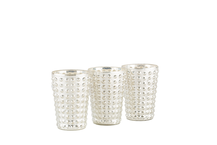 Studded Mercury Glass Votive .75-