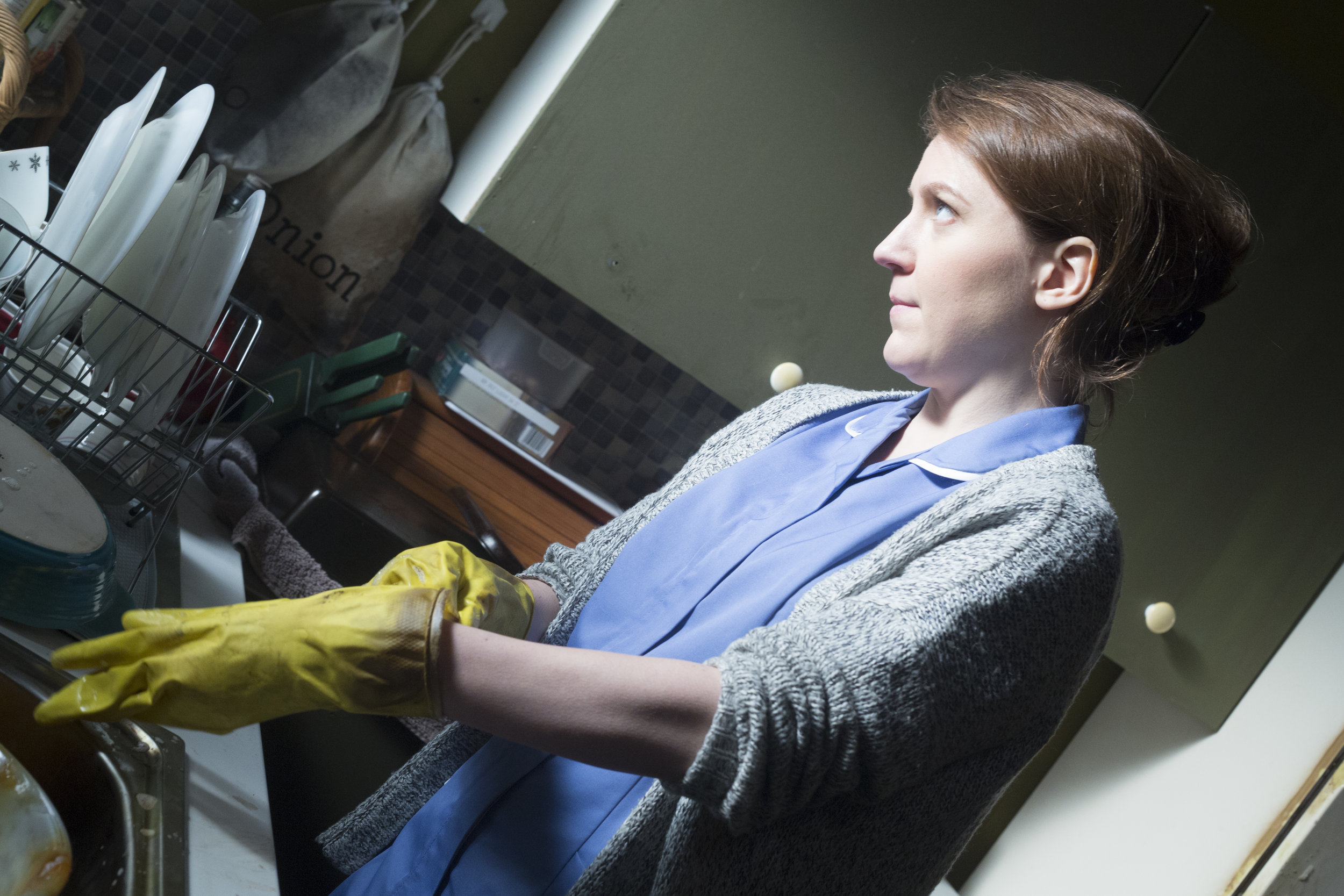Star Gemma Whelan works in the sets kitchen reclaimed from previous TV and film productions.jpg