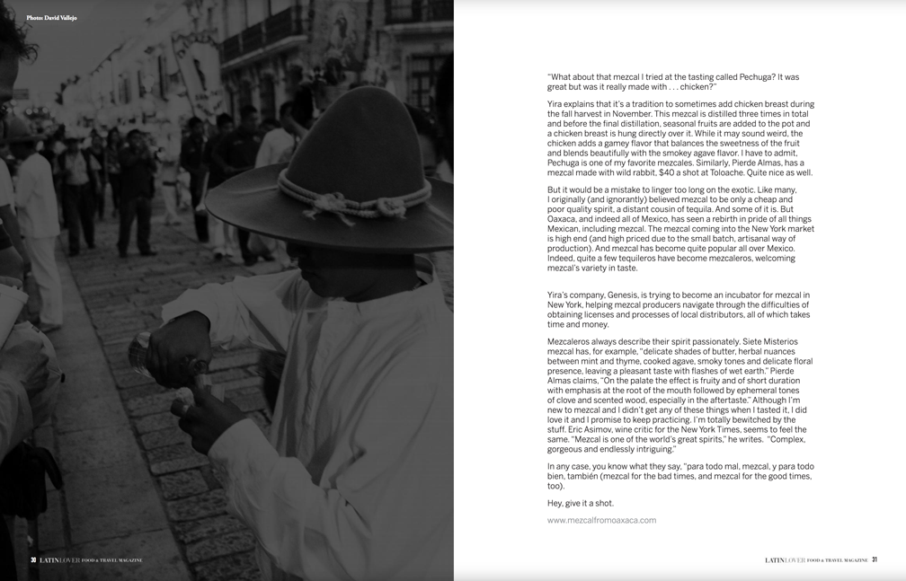 """Featured article published at LatinLover Magazine promoting the """"Mezcal from Oaxaca"""" project"""