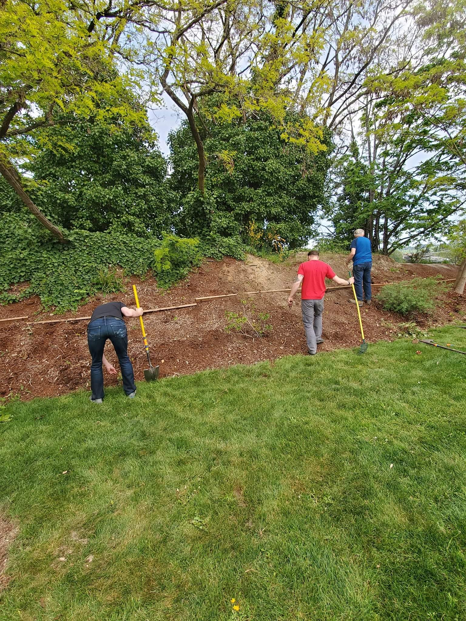 Volunteers clearing the bark around the memorial of any weeds and brush