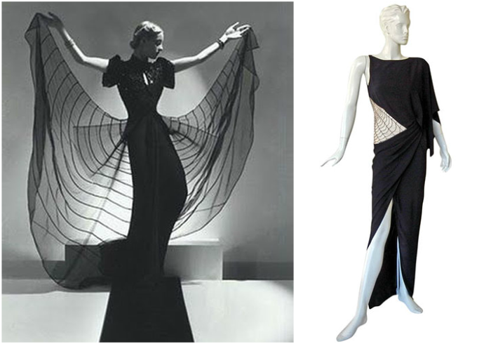 Helen Bennett in Spider Dress, 1939, Horst P. Horst photo; Madeline Vionnet dress, Marilyn Glass photo