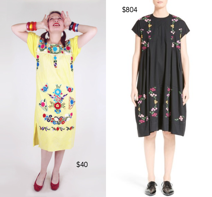 1970s hand embroidered cotton dress ;  Tricot Comme des Garçons embroidered cotton dress