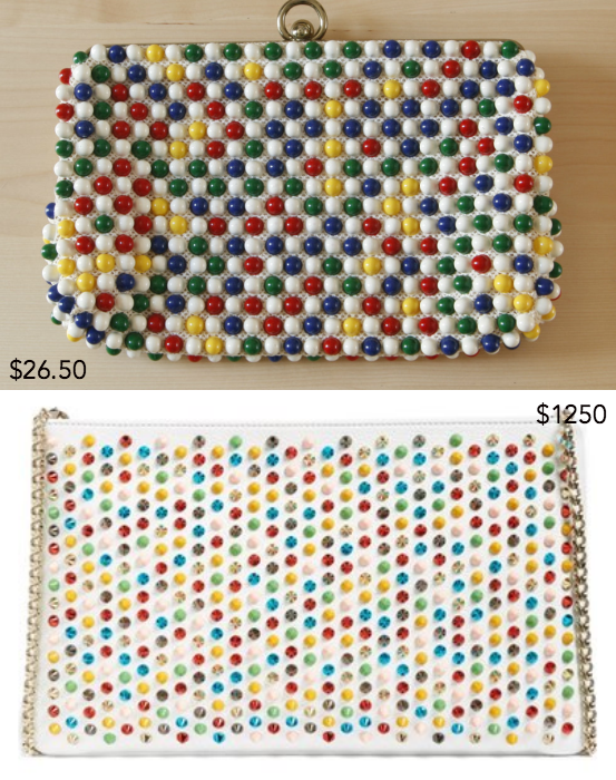 Vintage Grandee beaded clutch purse from TypiquementVintage ; Rainbow Spike Calfskin Clutch by Christian Louboutin (sold out)