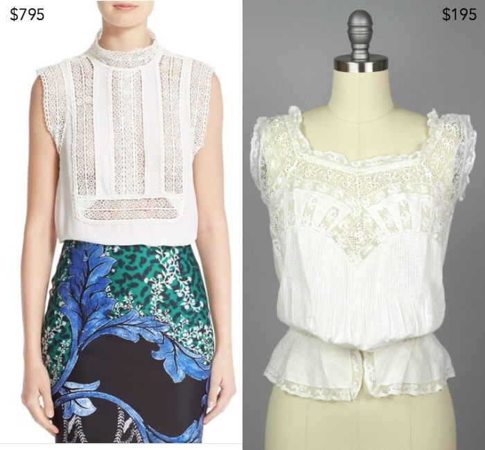 Lace trim silk crepe georgette top by Yigal Azrouël ;  Edwardian cotton and lace corset cover from TheVintageNet